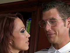 Watch this super horny and sexy babe getting her tight pussy fucked by her new neighbour while her husband isn't home in Brazzers Network sex clips.