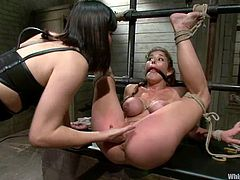 What a hardcore femdom we want to show you here! Slutty and kinky bitch is getting humiliated! A lot of BDSM tools are on her!