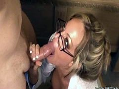 Check out stunning Milf Mia as a secretary. Watch her deepthroating his schlong like a real pro and begging him to cum allover her sexy face like never before.