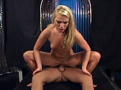 Sexy blonde girl takes her panties off and spread the legs. She get fucked deep in her shaved pussy. Then she sucks a dick and gets a mouthful.