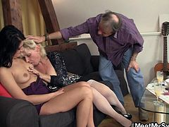 My sweet is beautiful, so beautiful that even my parents are turned on by her! When mom and dad saw her, they wanted to fuck Maria and luckily, she agreed. My brunette started making out with mom and after some nipple licking she was ready for dad's cock!