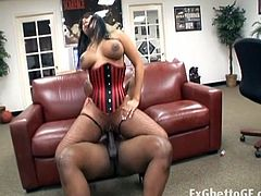 Voluptuous cock riding busty ebony whore. She gets lustful with every second she use that monster black dick inside her wet slit that surely begs for sweet cum.