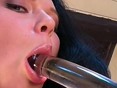 Beauty in white lingerie Suzie Diamond amazes with her glass toy during solo cam show