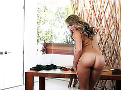Mia Malkova strips naked and plays with her pussy