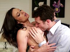 Bored by their moms this guy exchanged his with a friend's. And what a mommy he just got! Kendra is fucking beautiful, big boobs, dark hair and thighs that greet you between them. She acts like a perfect mom, giving her boy some sweet love and those big boobs. Will he fuck her hard and cum on her breasts?