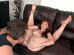 Trinity Post is a perverse redhead milf ready to give her man a hell of a blowjob and then a sexy rimjob. He repays her attentions devouring her clam and ass.