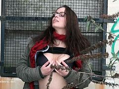 Geeky out of doors public nudity of Smut Meagre pussy flashing breasts and revealing off honey pot i