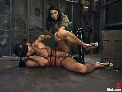 Here is another hot and wild BDSM session with a sizzling mistress Mika Tan! She bondages this dude and makes fun of his cock, twitching and wanking it.