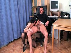 Porner Premium brings you an amazing free porn video where you can see how a nasty brunette in stockings gets drilled hard before eating some cum at the office.