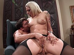 This smooth pimp fucks this beautiful babe in office. This horny slut sucks his big stiff cock and then he destroys her tight asshole.