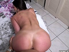 Kendra has a big hot booty and she's ready to get it fucked. She sucks my cock with pleasure and then, I keep on filming her as she bends over and offers me that ass. Kendra stays like a good girl as I fuck her butt and it I wanna cum in it but she kneels, and sucks my dick again. Where should I cum in her?