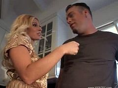 Hot big tits milf loves young and big cocks.Devon looks stunning as she lets those hangers loose in their full glory as she fucks and sucks Jenner and then gets his cum spattered over those fun bags.