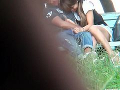 Check out this cute asian schoolgirl seduced by a horny teacher in the park. He wastes no time and banged her tight snatch, while everything is being recorded.