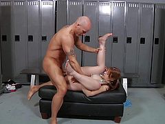 Turned on muscled stud Derrick Pierce with shaved head lures naive pale redhead cheerleader with soft pale skin in locker room and drills deep her pink shaved honey pot.