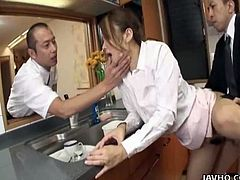 Filthy Asian slut double fucked in this nasty threesome encounteras she tries to satisfy these hard cocks inside her.
