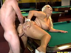 A fuckin' slutty bitch sucks on a hard cock and then gets it shoved balls deep into her fuckin' gash, check it out right here!