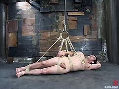 But she kind of limits him in that! Babe ties him up, suspends and twitches his balls, which is quite painful to feel! Then finally she sits on his cock with her twat.