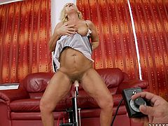 Watch this hot and horny old blonde babe enjoying her sex machine penetrating her tight and wet pussy in her bedroom in 21 Sextury sex clips.