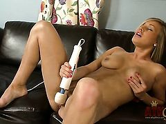 Blonde Kennedy Leigh finds herself horny as hell and takes toy in her love tunnel with desire