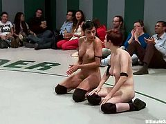 Nude lesbians Iona Grace, Serena Blair, Beretta James and Bella Wilde fight with each other on tatami. They finger each other's cunts during the battle and then the winners fuck the losers with toys.