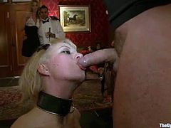 Kinky bitches get tied up and get slapped. After that the blonde sucks big dick and get fucked hard from behind.