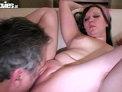 Take a look at this hot scene where a sexy hottie by the name of Mausibutz masturbates with a squash before sucking and riding this old guy's hard cock.