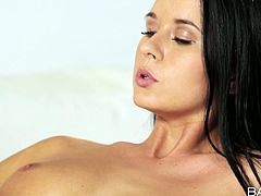 Fucking stunning brunette hottie Mia Manarote exposes her beautiful boobs. She then slips down her panties showing smoothly shaved pussy. She pleases herself sensually in arousing solo masturbation porn video.