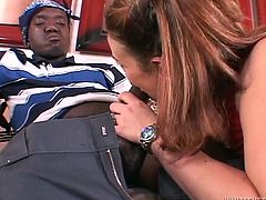Sandra is about to suck a midget's cock, a black one too! She gets out from the van with that slutty attitude and then goes inside the house where this black midget shows her that his dick is not short too! She slides her pink, sweet lips around his dick and then puts it between her boobs!