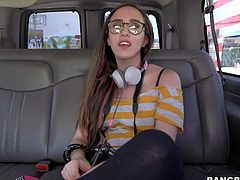 Young amateur nerdy looking brunette slut in black tights and cheep provocative blues gets picked up by filthy dude and has fun on back seat in his car.