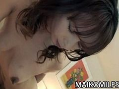 Adorable Japanese MILF Maiko Hirota gets aroused with sex toys, fingers and tongues before a hard cock goes in her pussy. She moans loud and wants to cum on his cock.