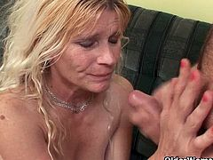 Vivian is a horny mature and a stepmom of a lucky dude. After she starts to deepthroat his cock she takes it deep inside her horny pussy for a huge cumshot.