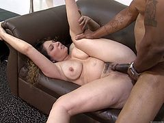 Big-breasted milf Kiki Daire shows her shaved pussy to some black guy and allows him to lick it. Then Kiki gives a blowjob to the man and gets banged in missionary, cowgirl and doggy style ways.