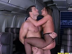 Melina Mason is a smoking hot stewardess with an amazing ass and a gorgeous face. Check out this hardcore scene where she rides the plane captain's big cock in middle class.