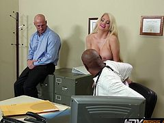 Blonde nurse gives black doctor some pussy.