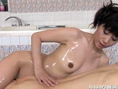 Raised in the true Nippon tradition, this mature brunette will do anything to please her man. Even a common bath can be one hell of an experience with her. The sexy broad takes care of her man the best she knows so after washing his body she oils him and gives the guy a hot head and a relaxing massage.