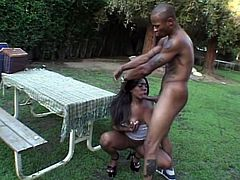 She is so hot and she is going to love it big! Shawna is her name and that thick cock is moving deep in her ebony twat outdoors.