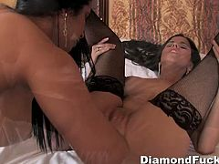 Watch these two horny and hot babes Diamond Kitty and sexy Lola in their naughty lesbian action.These horny busty babes sucks each other big boobs and licks that tight cunts.
