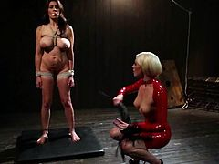 Desirable bitch in latex is going to torture that busty siren