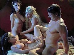 Smoking hot bombshells Jennifer Dark, Bridgette B and Brandy Aniston with huge jaw dropping knockers lick each other while Ryan Driller with muscled body is banging them in awesome foursome.