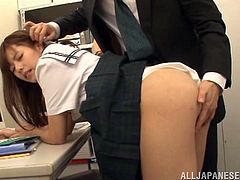 This Japanese girl is cute and wearing her school uniform before she has her clothes ripped off and her tight pussy poked and fucked.