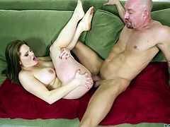Will Powers is having fun with long-haired busty brunette Allison Moore. He makes the hottie suck his dick and then drills her asshole doggy style and in missionary position.