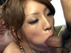 Hot like hell light haired Asian whoe with small titties got her wide hot mouth turbulently attacked by bunch of horny studs. Take a look at this gang bang mouth hammering in Jav HD porn video!