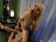 Yuki Mori lies on a table in a kitchen and gets her body covered with hot wax. Then she get licks Lorelei's pussy and gets toyed with different sex toys.