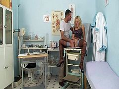 Blonde babe gets her tight cunt fucked by doctor.