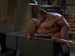 long haired young and slim blonde Bailey Blue with long sexy legs and nice natural boobs gets naked for Brendon Miller and fuck with him like on desk in Terminator parody.