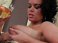 With big jugs and trimmed pussy does striptease before she sticks her fingers in her backdoor
