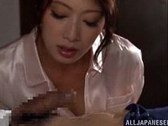 She's beautiful and has a lot of experience in taking care of a man's hard cock. Look at beautiful Kaede how gently she satisfies her man. Maybe we will see her sliding those delicious lips around the penis and squeeze every drop of semen the guy has