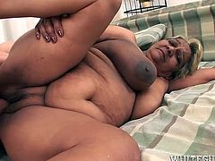 Slutty granny with big natural boobs gets fucked doggy style