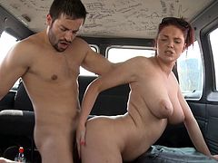 Voluptuous babe goes wild in rough hardcore fuck in the bang bus