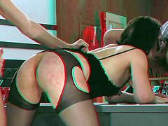 Black haired nerdy Sarah Shevon with nerdy glasses in awesome lingerie and high heels gets fucked while having mouth stuffed with meaty cock i threesome with James Deen and Jeremy Conway.